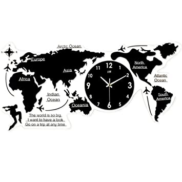 Wall clock Mapa Mundial Reloj De Pared Decoración Para El Hogar Reloj De Pared Sala De Estar Dormitorio Mudo Reloj Pared Grande Relojes De Pared Digitales ...