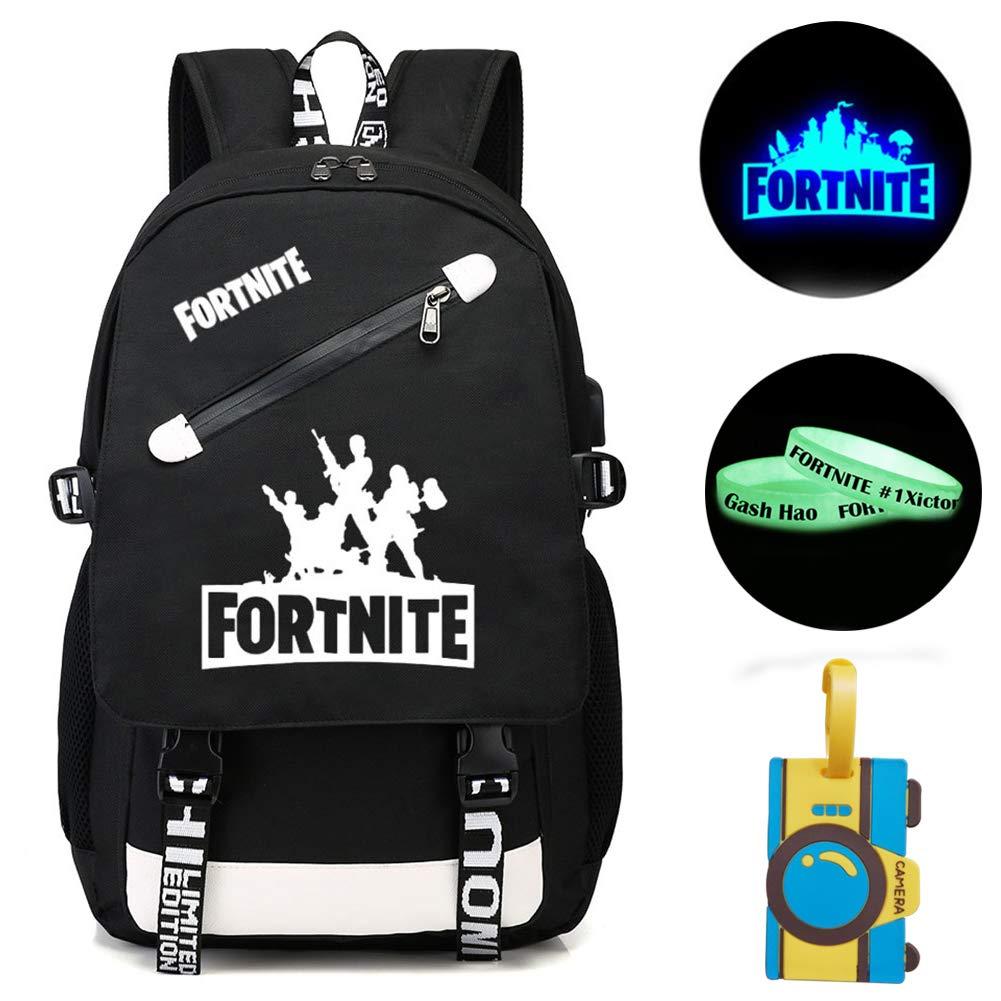 Gash Hao Fortnite Luminous Backpack Student College School Bookbag USB Charging Travel Computer Bag