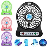 Vinjeely Portable Rechargeable LED Light Fan Air Cooler Mini Desk USB 18650 Battery Fan(Battery not included) (Black)