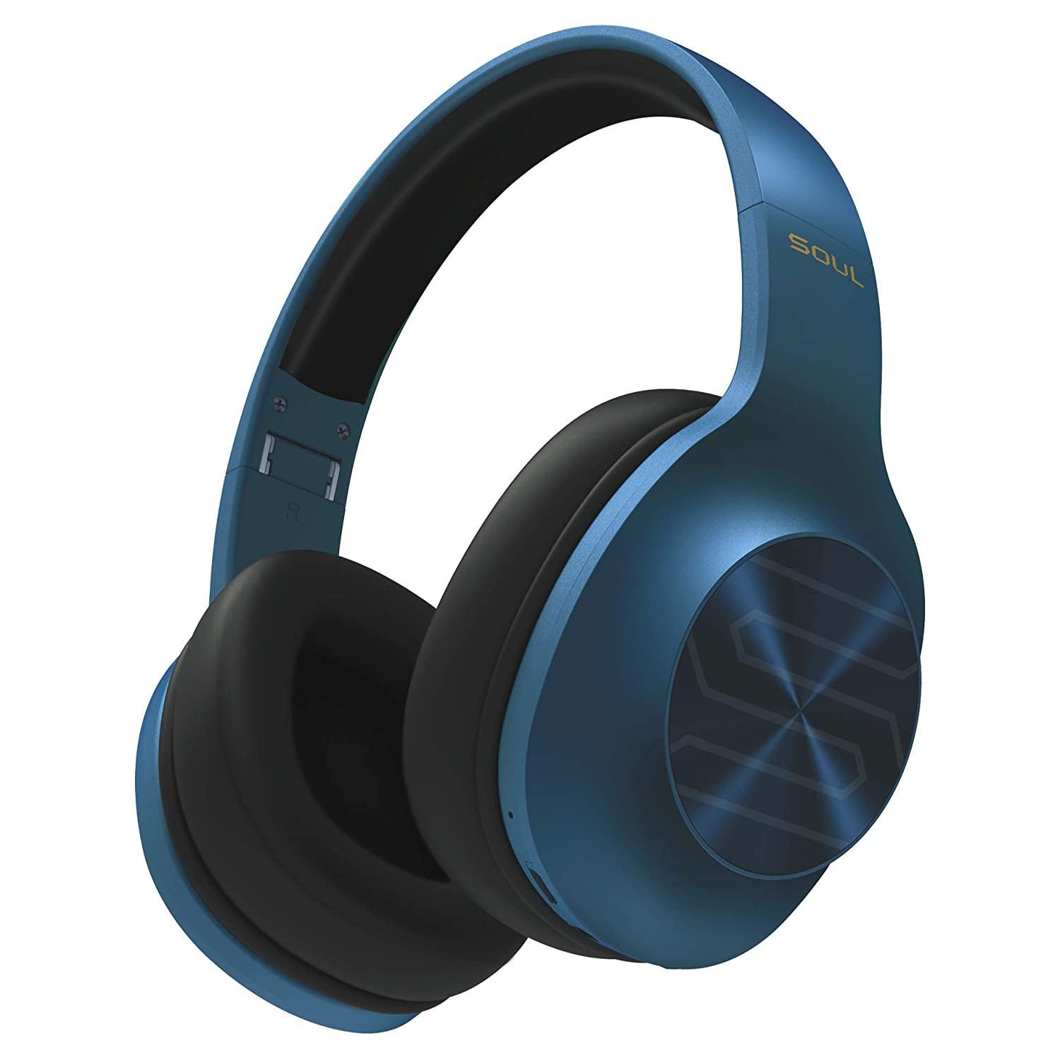 Soul Electronics Ultra Wireless Foldable High Definition Dynamic Bass Over-Ear Headphones with Bluetooth 5.0 Blue