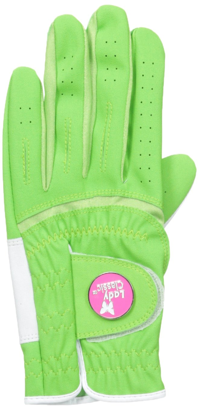 Lady Classic Women s Soft Flex Gloves with Magnetic Ball Marker, Left Hand, Lime, Large
