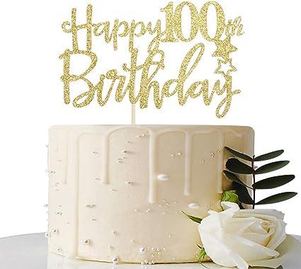 Amazon.com: Decoración para tarta de 100 cumpleaños con ...