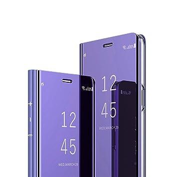AURSEN Case de Teléfono para Samsung Galaxy S9 Plus, Flip Cover Carcasa Samsung S9 +, Soporte Plegable, Cierre Magnético - Color Púrpura
