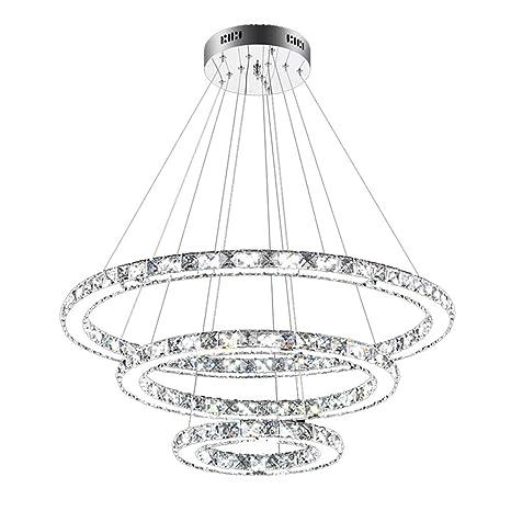 SAILUN® 73W 3 anillos Lámpara Colgante LED de Cristal Araña Moderna Lámpara Colgante Lámpara de Techo Blanco Cálido Iluminación Interior para comedor ...