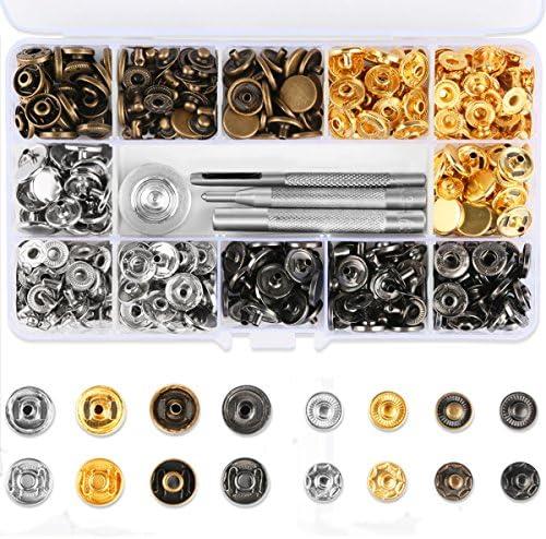 [スポンサー プロダクト]Vanble レザークラフト 工具 4種類 & ホック 4色 詰め合わせ ケース付 カシメセット 12mm ホック打ち工具 パーツ DIY 手作り ハンドメイド 120組