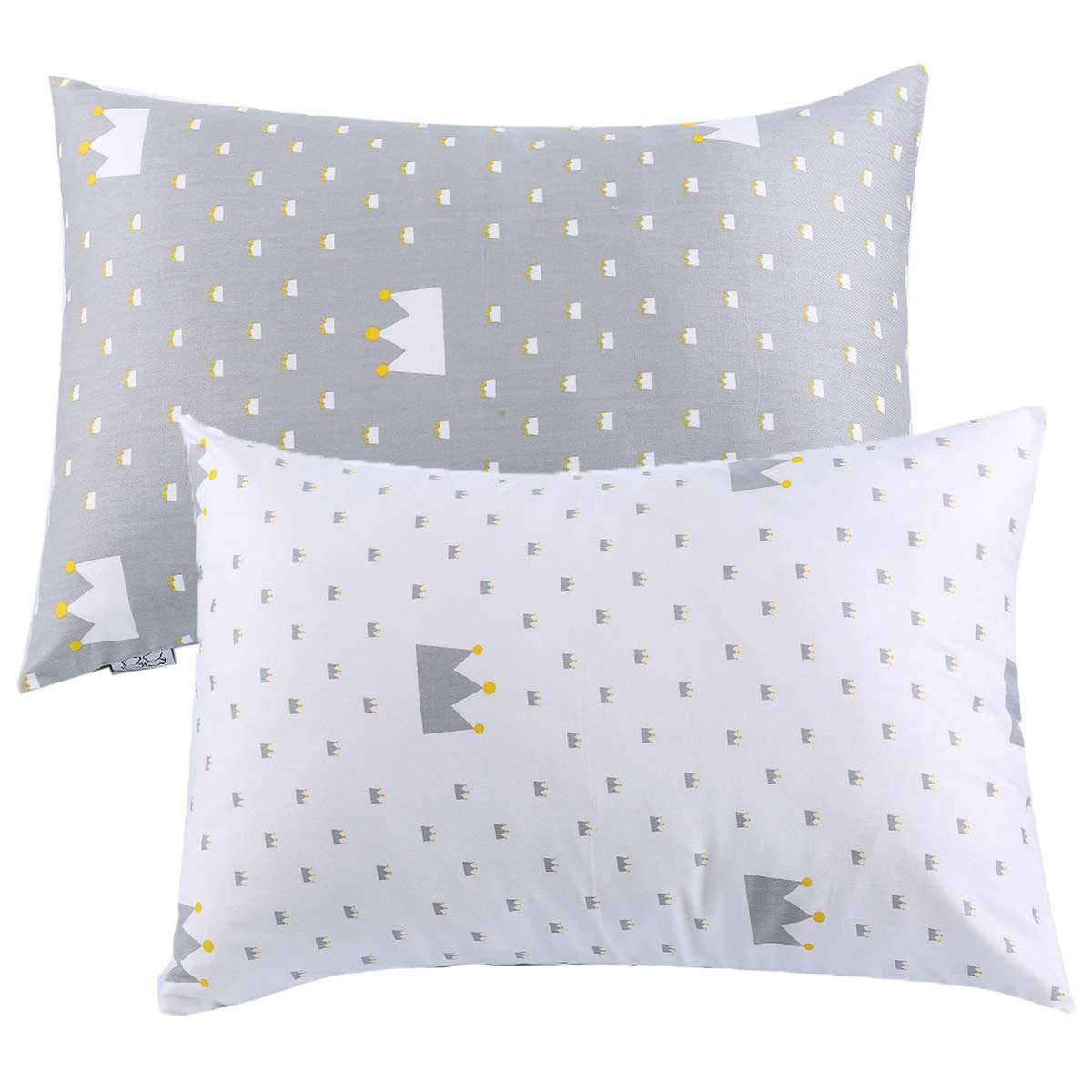 Kids Toddler Pillowcases UOMNY 2 Pack 100% Cotton Pillow Cover Cases 13 x 18 for Kids Bedding White/grey Crown kids-pillowcase 4