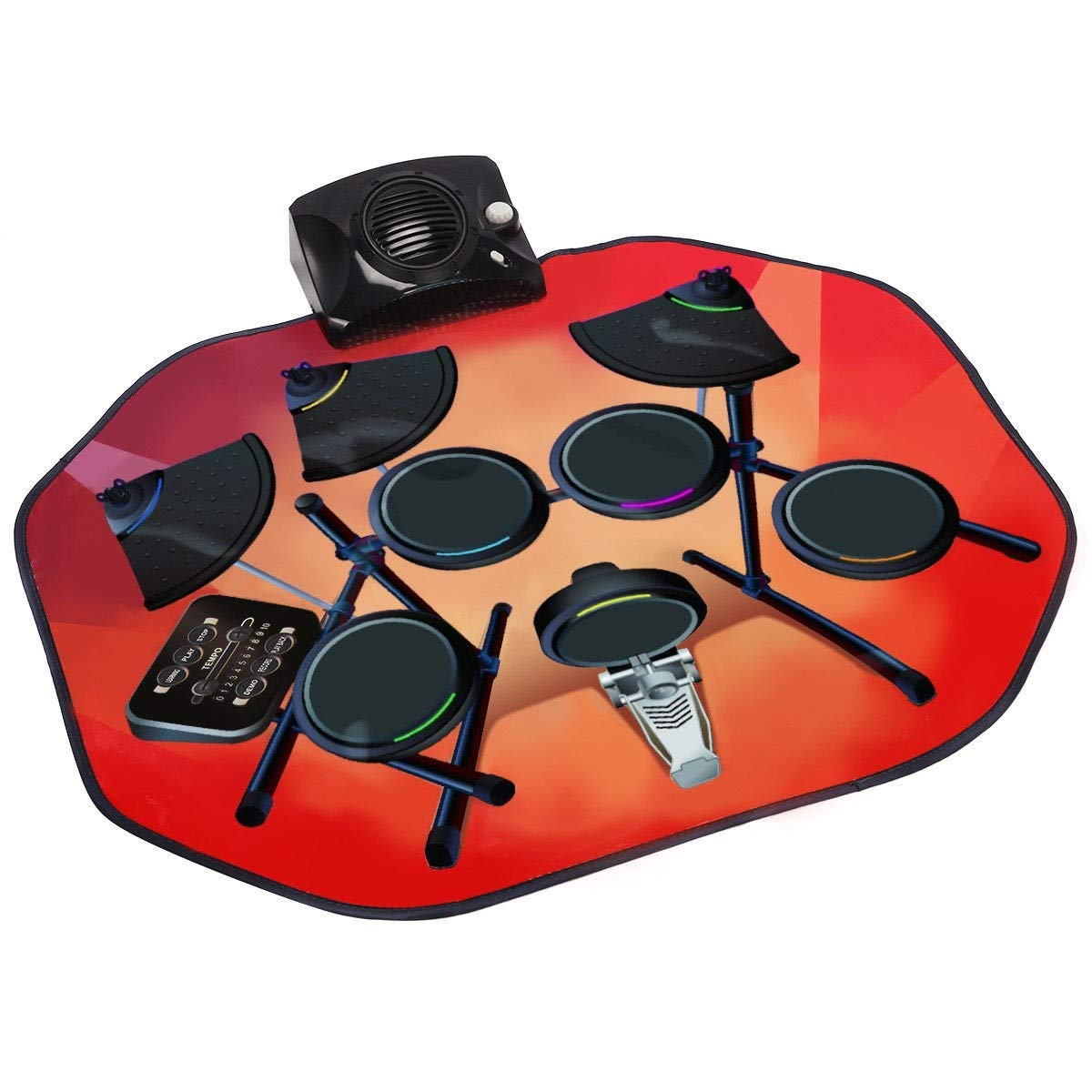 USA_BEST_SELLER Electronic Glowing Play Drum Mats Kit Set with MP3 Cable Great Holiday Birthday Gift for Kids by USA_BEST_SELLER (Image #3)