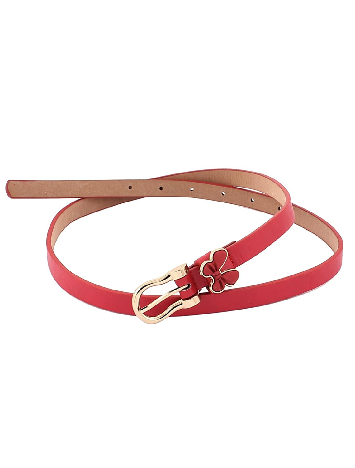 Lady Women Butterfly Decor Buckle Thin Skinny Waist Belt Waistand Red