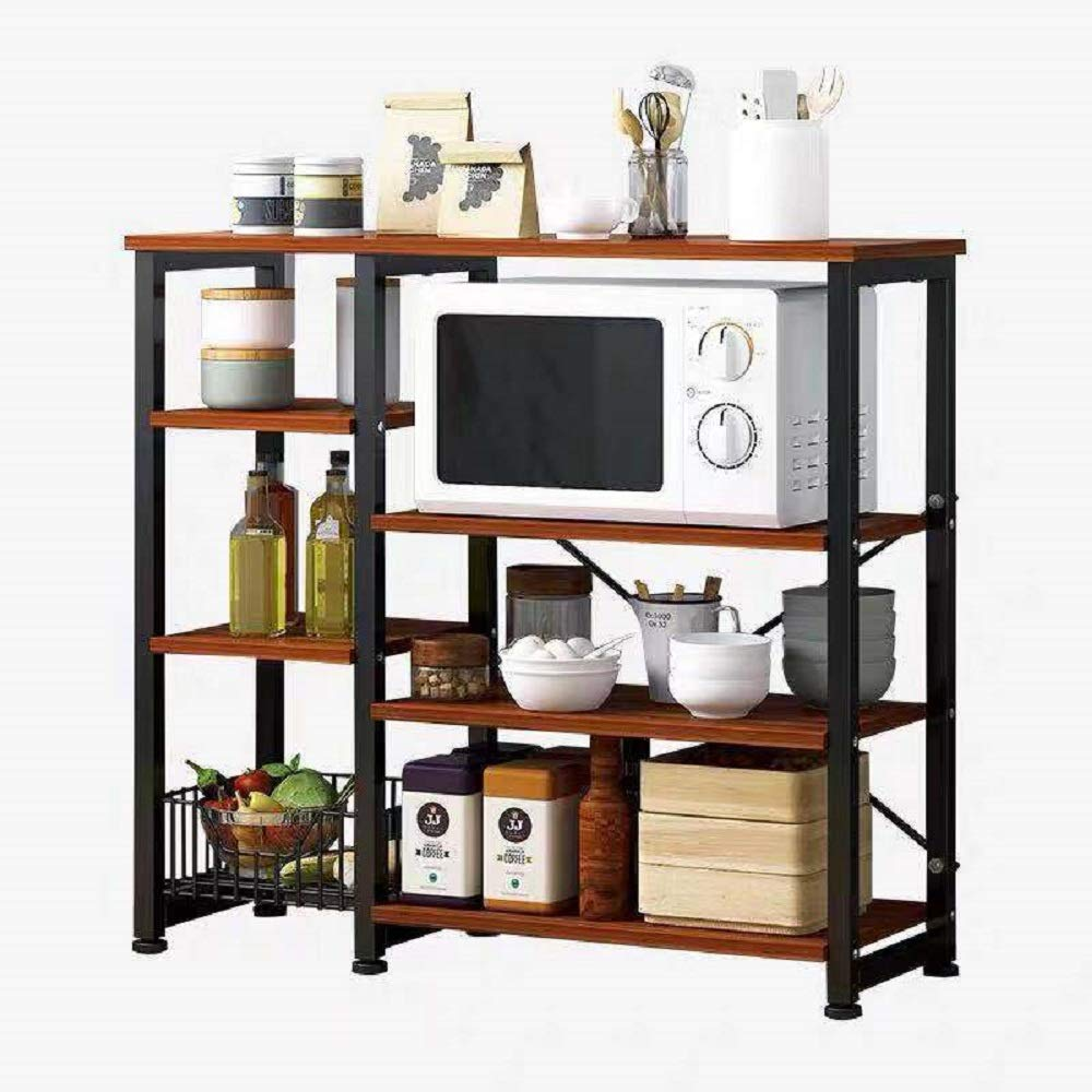 Hicy Kitchen Islands with Storage,3-Tier Microwave Stand,Bakers Rack (Walnut) by Hicy