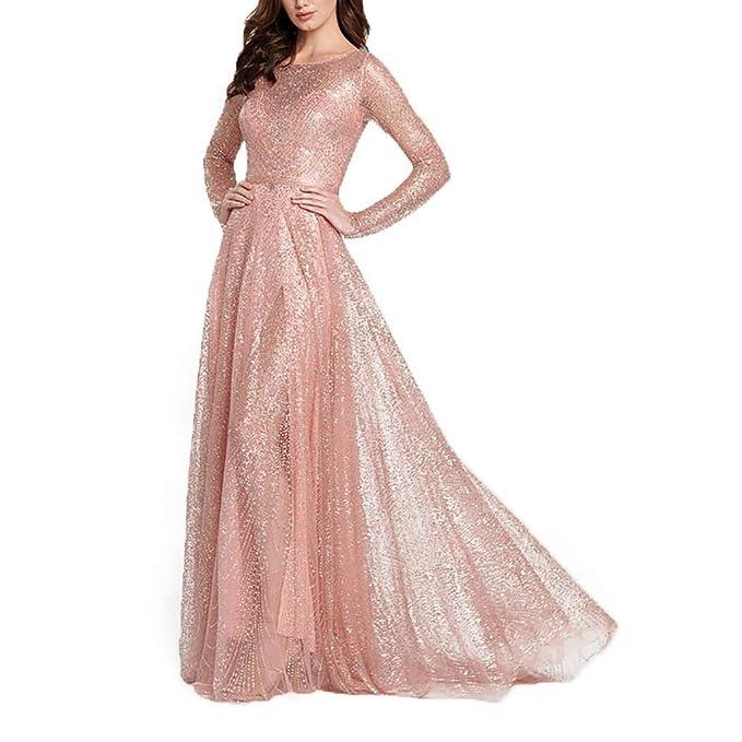 5b26422522f4 Women Sequin Bridesmaid Dress,Elegant Maxi Evening Prom Dresses Floor  Length Camis Back Hollow Cocktail