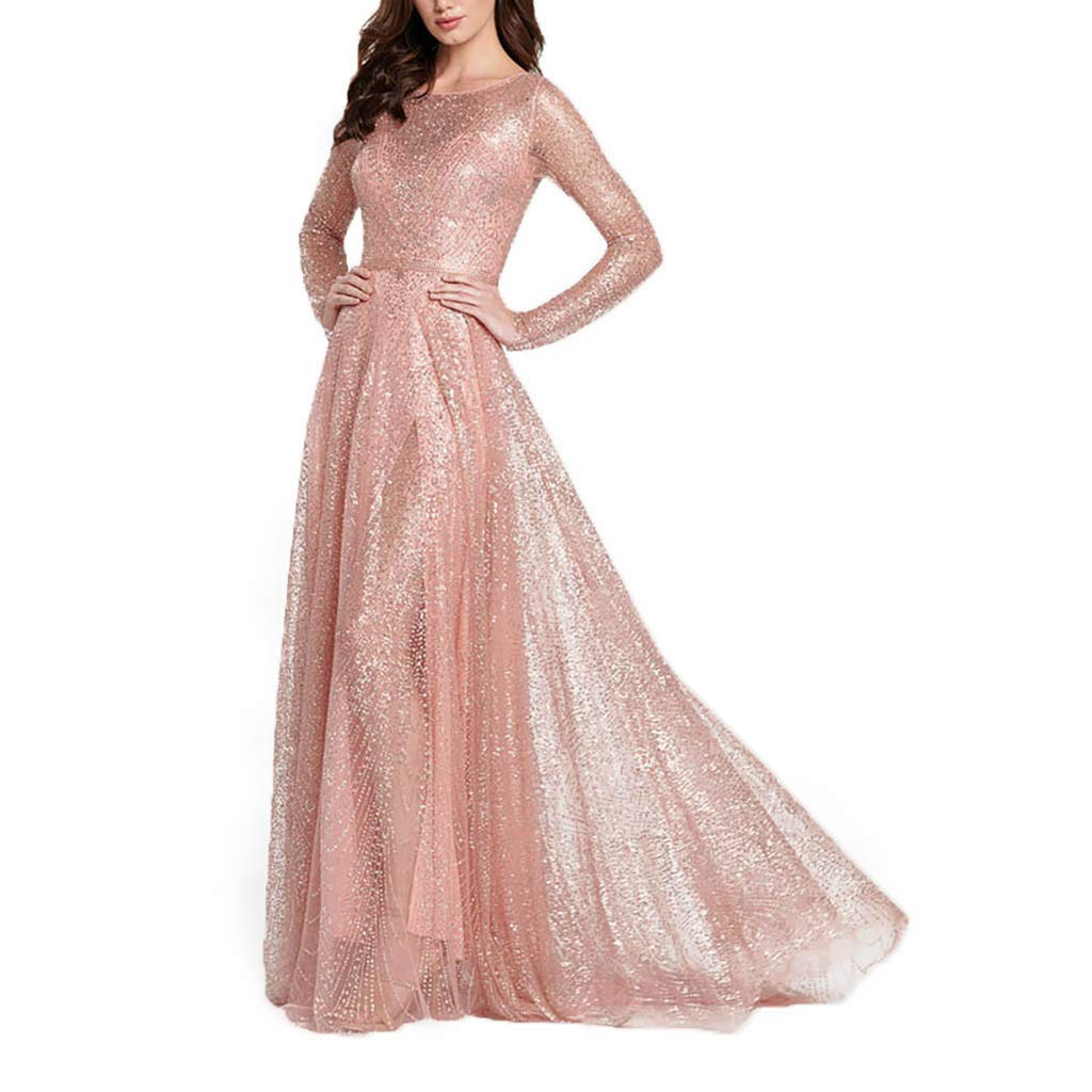 FAPIZI Women Lace Sequin Solid Camis Maxi Dress Cocktail Wedding Hollow V-Neck Bridesmaid Gown Long Dress Pink