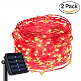 Anxus Solar String Lights, 100 LEDs Red Starry String Lights, Copper Wire solar Lights Ambiance Lighting for Outdoor, Gardens, Homes, Dancing, Christmas Party (2 pack)