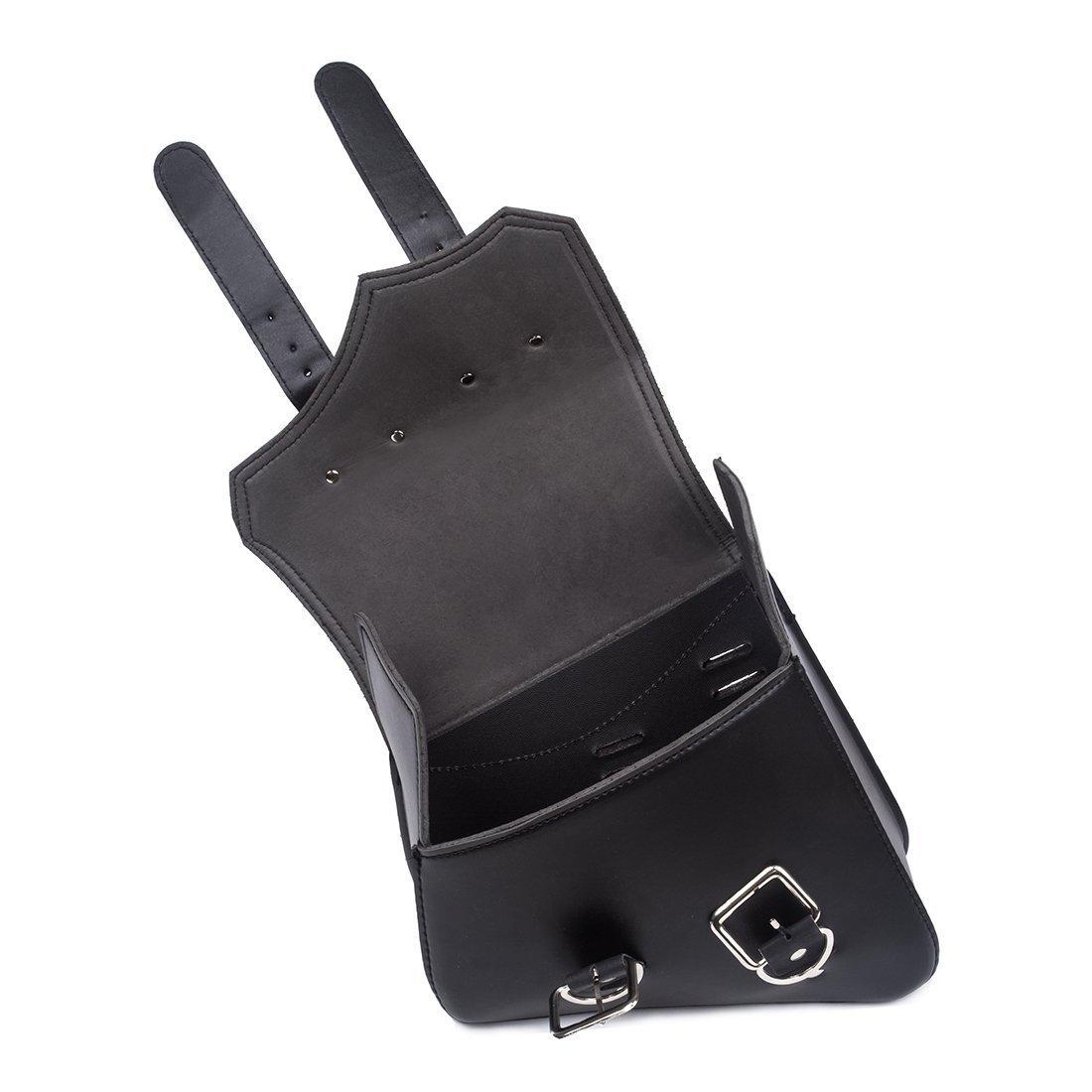 Alforjas para Moto de Cuero Moto-Bolso Triangular al Aire Libre Paquete Parte Trasera de Motocicletas Bolsa de Almacenamiento para Harley Davidson 2PC - Negro