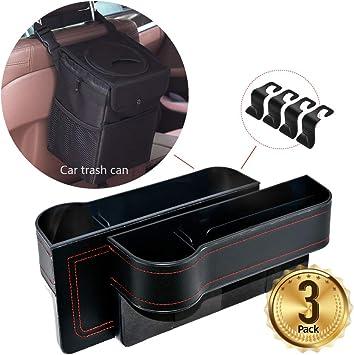 Car Vehicle Back Seat Headrest Hook Car Interior Accessories N//X Car Seat Organizer Black Premium PU Leather Seat Gap Filler Waterproof /& Leak-Proof Black with Lid Foldable Vehicle Trash Bin