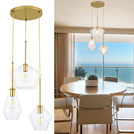 Island Pendant Light Fixtures/Hanging Pendant Light Golden Finishing Clear  Glass Light for Kitchen Island,Hotel or Bedroom -3 Lights -Multi Lights