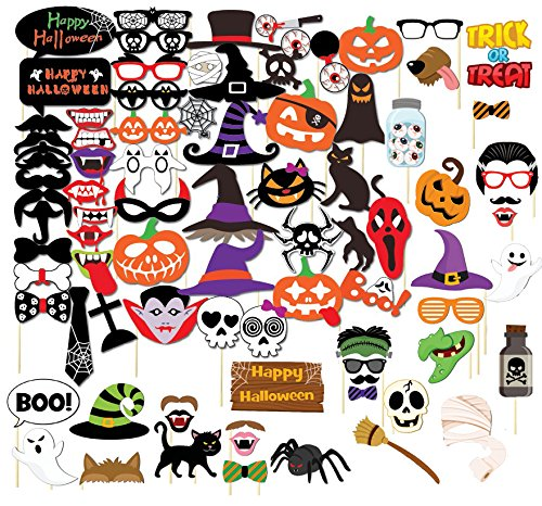 SIX VANKA 85pcs Photo Booth Props DIY Kit Dress-up Accessories for Halloween Wedding Party Favors Reunions Birthdays Decoration Anniversary (Halloween Photo Booth Props)