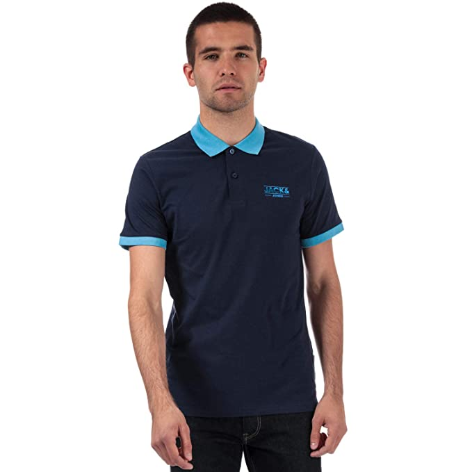 JACK & JONES Tony - Polo de Manga Corta para Hombre, Color Azul ...