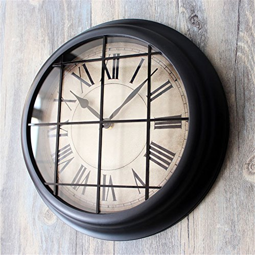 Wall clock Loft Industrial Wind bar decoration Silent Non Ticking Quality Quartz Battery Operated 12 Inch Round Easy to Read dining room coffee shop and bar iron bedroom Clock black (Clock Wall Industrial)