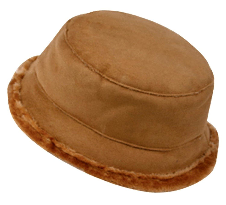 Peach Couture Unisex Winter Faux Suede Faux Fur Lined Bucket Hat