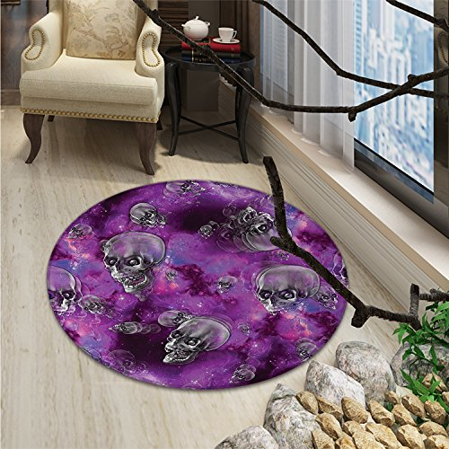 Skull Round Area Rug Carpet Horror Movie Thirller Themed Flying Skull Heads Halloween in Outer Space ImageOriental Floor and Carpets Black and Purple]()