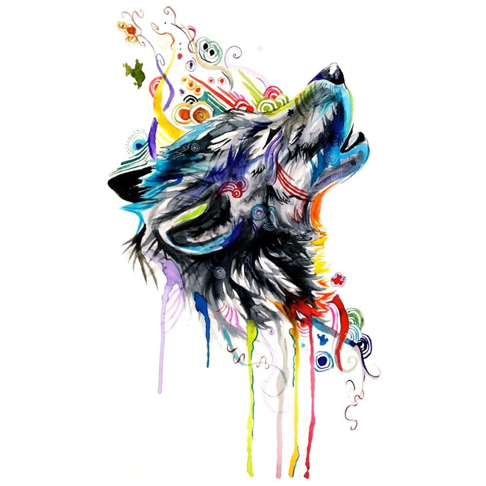 wyuen 5 pcs Watercolor Wolf temporal tatuaje Pegatina para mujer ...