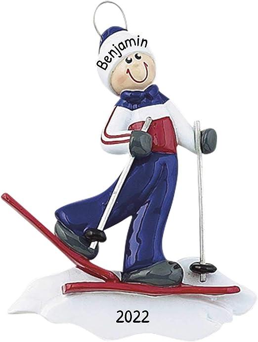 Christmas Skiing 2020 Amazon.com: Personalized Ski Guy Christmas Tree Ornament 2020