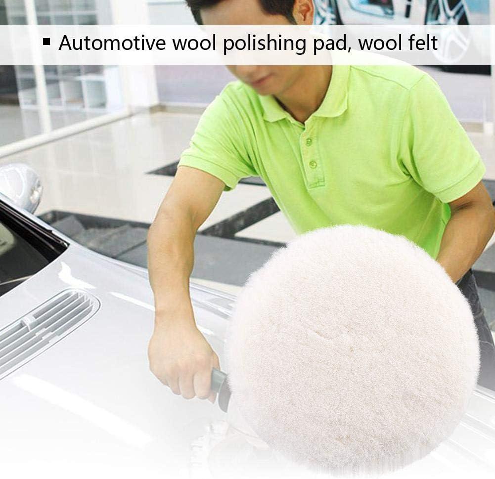 Terisass Wool Polishing Pad White Polishing Buffing Waxing Pad Car Cleaning Pad Car Polisher Pad Wool Buffer Pad for Car Polisher Buffer 5 Inch