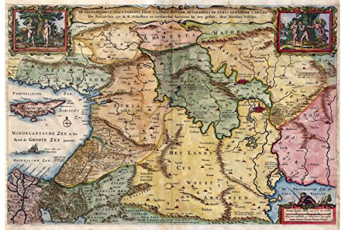 Map Of The Holy Land with Biblical Illustrations; Antique Map, 1657 by History Prints