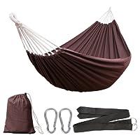 Anyoo Baumwolle Garten Hängematte Outdoor Camping Tragbare Canvas Swing Bett Streifen 200Kg Kapazität Leichtgewicht mit Tragetasche für Patio Yard Beach Rucksack Wandern