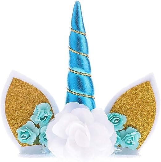 Paillettes Unicorn Horn et oreilles cake topper gâteau d/'anniversaire Décoration Cupcakes