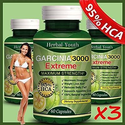 3 Bottles - 3000mg Daily Garcinia Cambogia [HCA 95%] Weight Loss Diet Slim NEW Garcinia Cambogia Extract