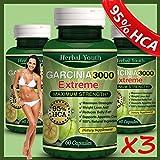 3 Bottles - 3000mg Daily Garcinia Cambogia [HCA - Best Reviews Guide