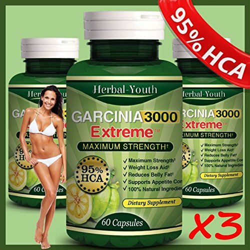 3 Bottles - 3000mg Daily Garcinia Cambogia [HCA 95%] Weight Loss Diet Slim NEW Garcinia Cambogia Extract