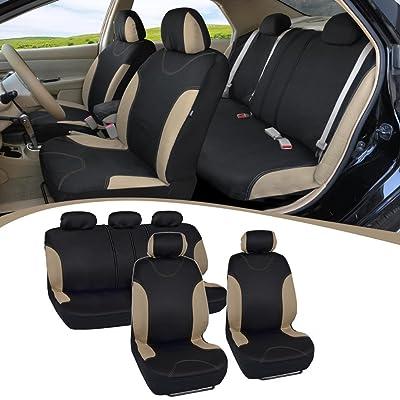 BDK Beige Trim Black Car Seat Covers Full 9pc Set - Sleek & Stylish - Split Option Bench 5 Headrests Front & Rear Bench - OS-334-BG_amj: Automotive