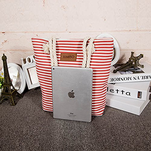 Red Canvas Bag for Summer Bag Large Stripes Cotton Beach Shoulder with Tote Handle Women Travel Rope 88ZTRAvq