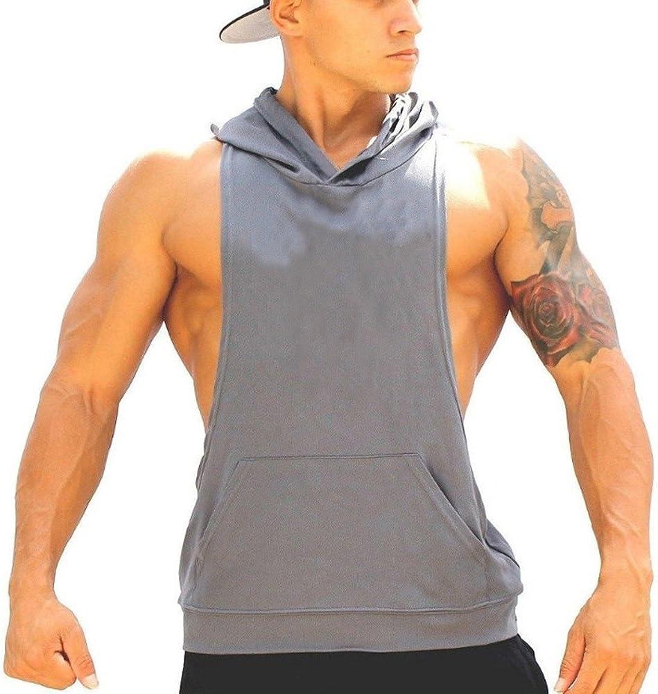 junkai Hommes Musculation Gym Workout Muscle Stringer Gilet sans Manches /à Capuchon D/ébardeur