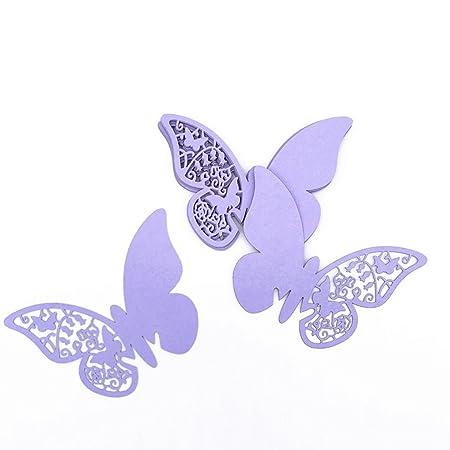Elecmotive 100 Piezas De Tarjetas Etiquetas Decorativas En Forma De Mariposa Flor Para Invitacion Pegatinas De Pared Flieder