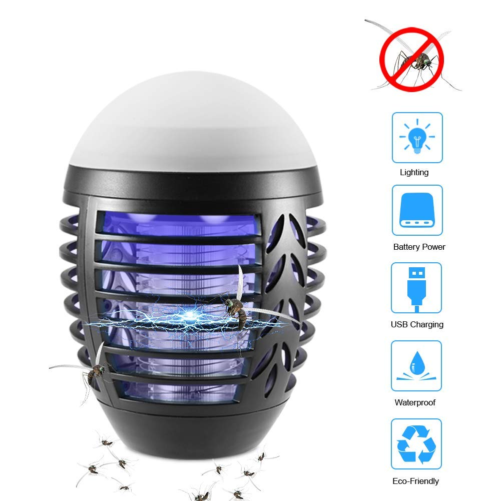 Black Portable Mosquito Killer, Electric Bug Zapper with 2200mAh Built-in Battery, IP66 Waterproof Insect Mosquito Fly Trap Camping Lantern Indoor Outdoor,Black