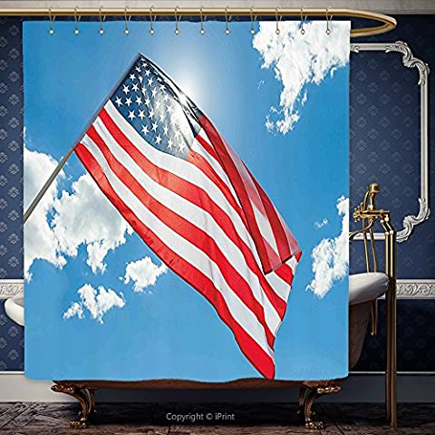 iPrint 72x84 Inch Shower Curtain 4th of July Decor Two Dogs Watching Parade with Flags Taking Photos behind the Fences Design Multi 00144 Polyester Bathroom Accessories Home - Seaside Dreams Panel Bed