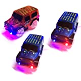 TSLIKANDO Car Track Replacement Toy Car (3 Pack) Glow in The Dark Racing Track Accessories Compatible Most Tracks for Boys Girls