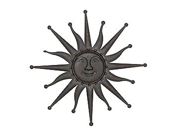 Sonne Wanddekoration 60cm Metall Deko Garten Terrasse Braun Iron