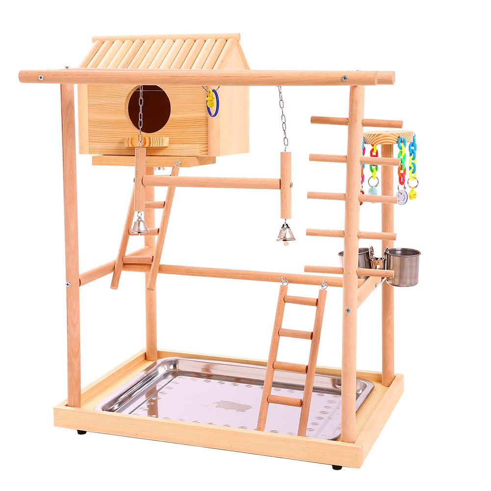 QBLEEV Bird's Nest Bird Stand Parrot Playground Playgym Playpen Playstand Swing Bridge Tray Wood Climb Ladder Wooden Perches(18.7'' L12.8 W20.87 H) (Nest(18.7'' L12.8 W20.87 H)) by QBLEEV
