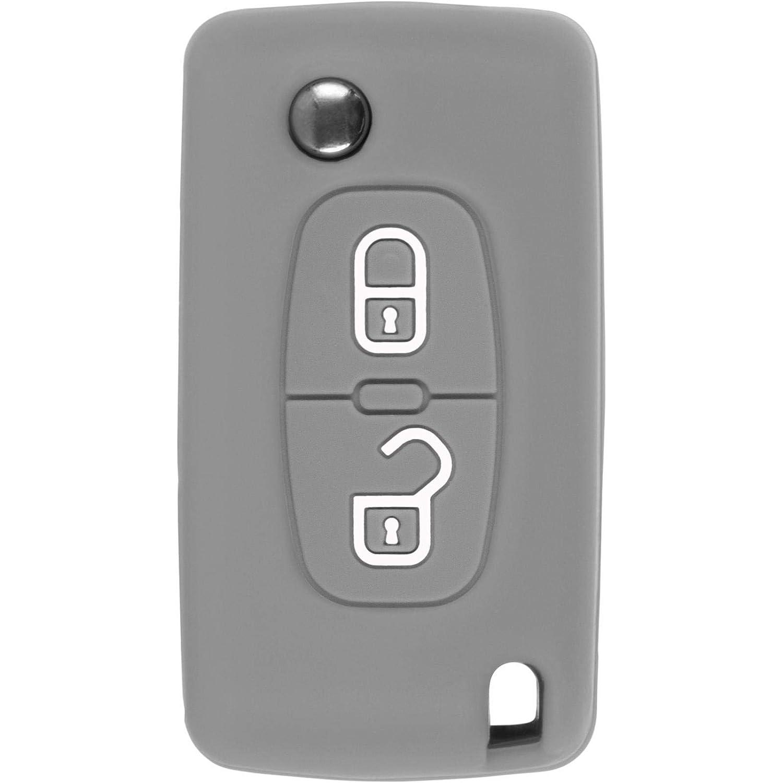 PhoneNatic Coque en Silicone clé Auto Orange pour télécommande Peugeot 207/307 / 408 2 Touches Clé articulée à 2-Key