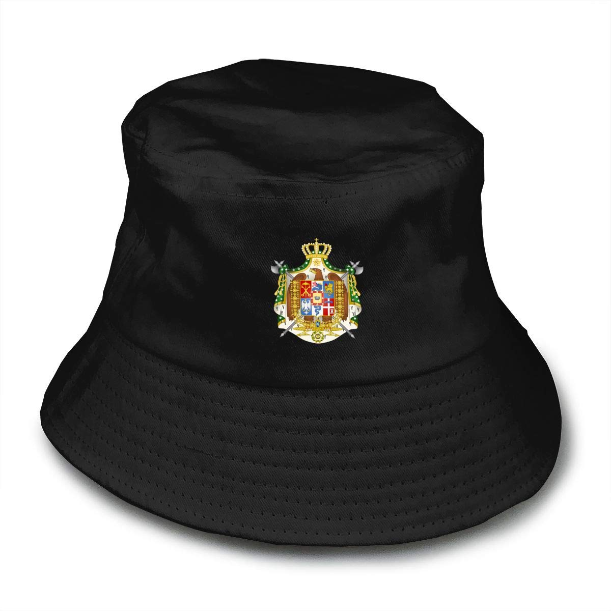 NDFGR Coat of Arms of Italy Unisex Cotton Packable Black Travel Bucket Hat Fishing Cap