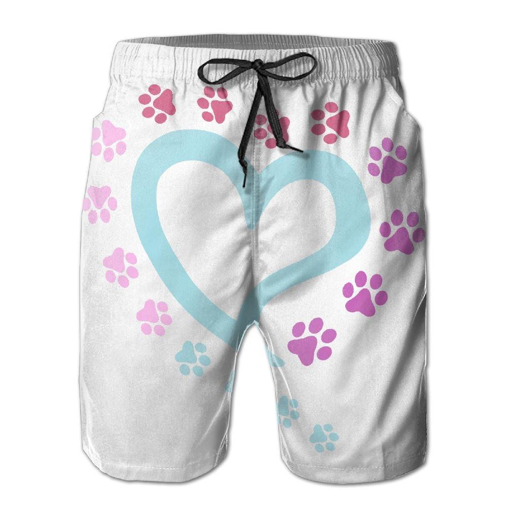 GYang Mens Beach Shorts Dog Paw Summer Printed Swim Breathable Quick-Drying Shorts Swim Trunks Boardshorts