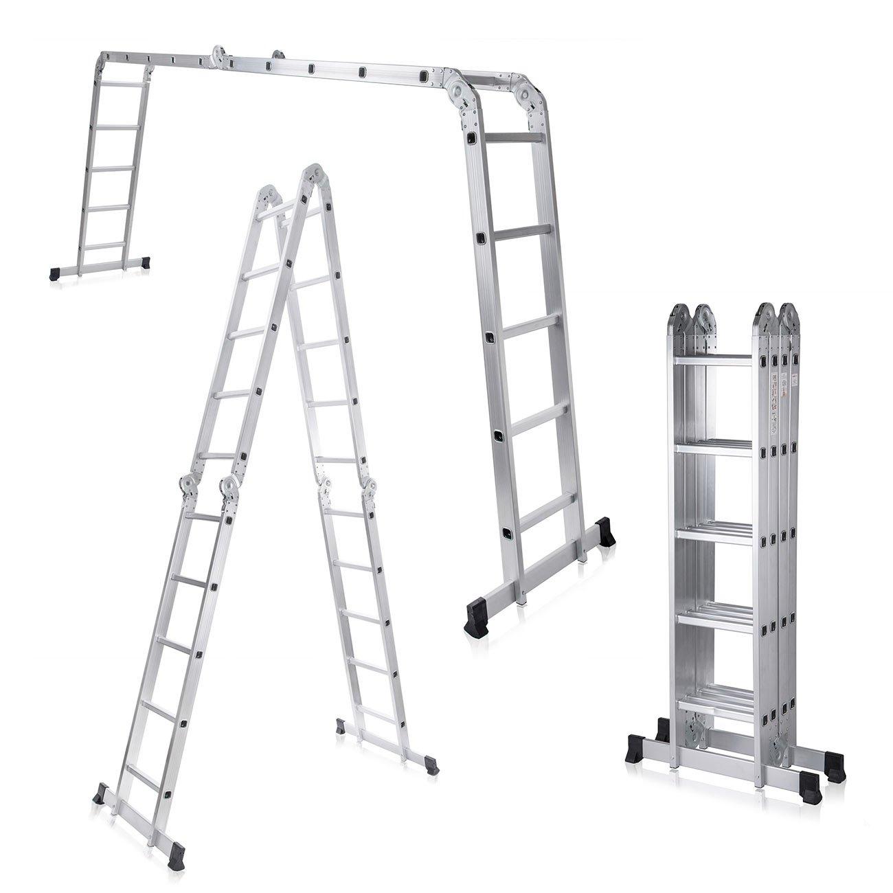 MAXCRAFT Escalier multifonction 6 en 1É chafaudage Té lescopique aluminium 150 kg Conforme EN-131 - Longueur 5, 92 m
