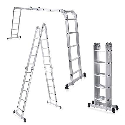 MAXCRAFT Escalera Multifunción Multi-propósito Escalera Ajustable Plegable Aluminio Carga 150 kg Conforme EN-