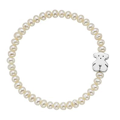 e045da963eec TOUS Pulsera Sweet Dolls, elástica ajustable mujer, Perlas cultivadas y  plata de primera Ley, Largo: 19 cm