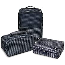 RoryTory 3pc Travel Packing Organizer Set For Shoe Bag - Cosmetic Toiletry - Bra Underwear Lingerie Storage Case