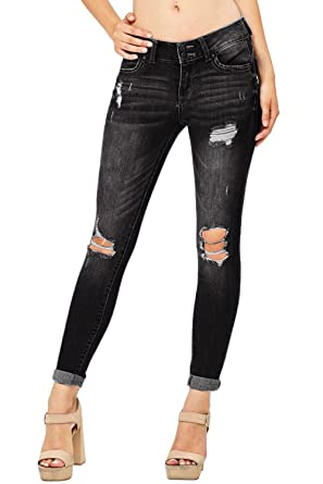 ab8d690fa4df chimikeey Womens Juniors Distressed Stretchy Cropped Skinny Denim Jeans  Jeggings